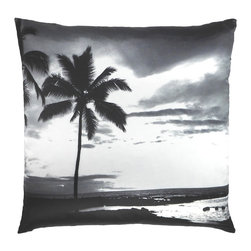 "NECTARmodern - Tropic Hawaii palm tree printed throw pillow 20"" x 20"" - Palm Beach Regency. If you like pina coladas and getting caught in the rain, then this is the pillow for you. Printed in black and white on a smooth satin finish. White linen back. Designer quality cover with overstuffed feather/down insert."