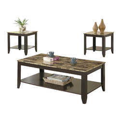 Monarch Specialties - Monarch Specialties I 7984P Cappuccino / Marble-Look Top 3 Piece Coffee Table Se - Make a statement in your living room with a three piece occasional table set that's sure to take center stage. This versatile accent table group includes a rectangular coffee table and two matching end tables that make a stylish addition to casual or contemporary decor. Marble look tops draw the eye with their muted shades of cream, onyx and gray and provide a durable yet beautiful surface for placing drinks and decorative accents. A sophisticated cappuccino finish wraps the base of the coffee and end tables, which feature lower shelves that offer additional space for storage or display. Tapered feet finish each piece and provide a sturdy foundation for lamps, potted plants and decor. Cocktail Table (1), End Table (2)