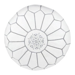"""Pre-owned Embroidered Leather Pouf - Gray on White - Authentic Moroccan hand-made leather hassock commonly known as Poof is made out of genuine soft leather. The poof is so practical it can be used as a foot stool, as a low seat next to your coffee table or in your children room. This pouf is pre-stuffed with cotton batting. This provides comfort and durability for the poofs. ‰Ű˘ Zippered bottom opening for easy stuffing. Measurement: Diameter: 20"""" Height: 12"""""""