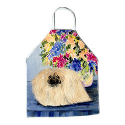 Caroline's Treasures - Pekingese Apron - Apron, Bib Style, 27 in H x 31 in W; 100 percent  Ultra Spun Poly, White, braided nylon tie straps, sewn cloth neckband. These bib style aprons are not just for cooking - they are also great for cleaning, gardening, art projects, and other activities, too!