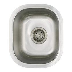"Ellis - 12"" Ellis Stainless Steel Undermount Kitchen Sink Small Single Bowl, Bar, Island - Ellis Sink with custom fit Sink Grid."