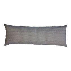 """Used White Embroidered Lumbar Pillow - This subtle embroidered lumbar pillow is an elegant """"go anywhere"""" accent. The embroidered geometric design is small and subtle, yet makes a great impact. Back side is plain. Insert is included."""