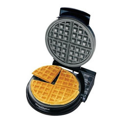 Chef'sChoice - Chef's Choice WafflePro (Classic Belgian) - Prepare the world's most delicious waffles in 90 seconds with the revolutionary Chef'sChoice WafflePro. The unique Quad baking system lets you select the ideal flavor, texture and color. With a simple flip of the texture select switch, you can choose either fast bake for crisper waffles with a soft, oven fresh interior, or deep bake for a more uniform texture. This professional, heavy-duty unit offers a waffle ready beeper, baking and ready lights, instant temperature recovery for continuous baking, a non-stick deep channel griddle and an easy-clean overflow channel. A floating hinge for the stainless lid ensures uniform thickness and baking. With a built-in cord storage compartment, the waffle maker can be efficiently stored in a space-saving, upright position. Recipes are included. One-year limited warranty.
