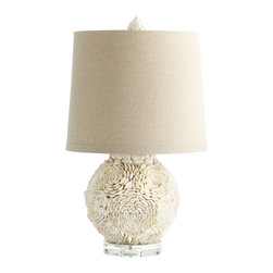Kathy Kuo Home - Hallandale Coastal Beach Mum White Seashell Petal Large Table Lamp - Rare is the lamp with such an unusual and artful approach to texture and motif, and this one is nothing short of gorgeous.  Hand applied natural shells create a unique contrast of hard edged materials and soft floral reference.  A welcome addition to any space where great design and craft are celebrated.