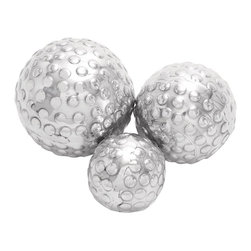 Benzara - Set of 3 Decor Ball in Silver Finish - Embracing your surroundings with a contemporary appeal, these three aluminum decor balls are a fine display of your elite choice. Not only do they make a perfect furnishing accessory when placed together, they complete the decor of your room when placed in an artistic manner separately. Made out of the finest quality sturdy aluminum, these decor balls offer durability, long life, and robustness. Available in an attractive design and unmatched quality, these decor balls add elegance to your ambience. Use it in your home or decorate your garden area to lift up your mood.