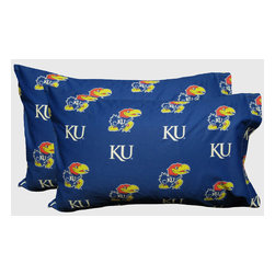 College Covers - NCAA Kansas Jayhawks Pillowcases Two-Pack Blue Set - Features: