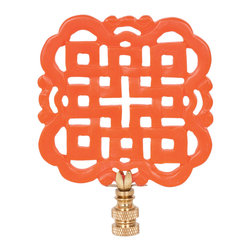 Hillary Thomas - Hillary Thomas Eye Candy Orange is the New Black Lamp Finial - The Orange is the New Black lamp finial's geometric labyrinth ignites light fixtures with vibrant style. Part of Hillary Thomas Designs' Eye Candy collection, the accessory exudes graphic style and modern color. Available in three sizes; Metal; Red orange powder-coat finish
