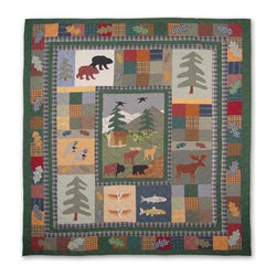 Patch Quilts - Northwoods Walk King Quilt - -Constructed of 100% Cotton  -Machine washable; gentle dry  -Made in India Patch Quilts - QKNORW