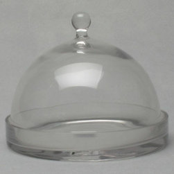 Tag Everyday - Small Glass Cheese Dome w Plate - Includes glass plate. Decorative glass knobs. Base can be used as pillar plate. Handmade. Hand washable. Perfect for serving cheeses and desserts. Dome: 7.88 in. Dia. x 7 in. H. Base: 7.88 in. Dia. x 1.25 in. H