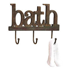 """Wood Bath Wall Hooks 99764 - Wood Bath Wall Hooks spells out word """"bath"""" and includes three hooks. 16"""" x 12"""""""