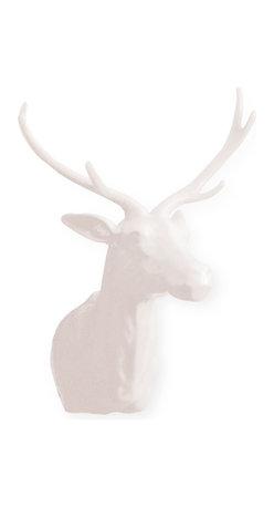 Kathy Kuo Home - The Hunt Medium White Porcelain Deer Trophy Head - Bring the great outdoors inside your space with this deer trophy head. The classic, rustic lodge mascot gets a sleek, modern update, reimagined in pure white porcelain.