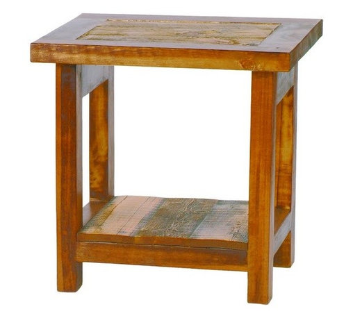 Mountain Woods Furniture - Small Reclaimed Wood End Table Rustic Barnwood - A  great  rustic  reclaimed  wood  end  table  table,  this  smaller  version  of  the  Wyoming  collection  end  table  features  an  eighteen  inch  reclaimed  barnwood  table  top  and  sturdy  reclaimed  wood  legs.  Handcrafted  from  beautiful  weathered  wood  and  finished  to  bring  out  all  of  the  naural  colors  and  textures,  these  beautiful  reclaimed  wood  tables  are  a  customer  favorite  because  they  look  great  in  so  many  places.  This  will  look  great  next  to  your  leather  couch,  or  you  can  even  use  it  in  place  of  a  nightstand.                   End  Table  dimensions:  18  wide  by  18  long   x  24  inches  high              Rustic  reclaimed  barnwood              Lifetime  warranty              Free  curbside  shipping  within  the  continental  U.S.              Allow  4-6  weeks  for  shipping                        A  great  addition  to  the  Wyoming  Collection  of  reclaimed  barnwood  furniture,  this  rustic  wooden  table  is  also  available  with  a  drawer.