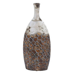 """Benzara - Ceramic Vase in Aesthetic Appeal and Beautiful Shades - Combined with shades of earthy brown and white, this jar recreates the old world magic and displays classical art in all its glory. It complements your living room decor perfectly with this aesthetically appealing vase. The vase is made of high quality ceramic and bears the patterns that add subtle charm and artistic ambience to the surroundings. The base of the jar is circular in shape and offers stability and balance to the whole structure. The lower portion bearing the brown shade is encompassed in a beehive pattern with ash colored lines forming the margins for the hive segments. Featuring top portion with the white shade and accented with rusty hues, this jar gives this piece an antique look. The mouth of the jar is elongated into a narrow opening. Suitable to be placed against any background setting, this jar will adorn your home gracefully for a long time to come. ; Aesthetic appealing vase; Made of high quality ceramic; Combination of attractive shades; Enhances the decor; Weight: 5.29 lbs; Dimensions:8""""W x 3""""D x 18""""H"""