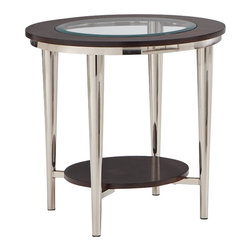 Steve Silver Company - Steve Silver Company Norton 23 Inch Round Glass Top End Table - Steve Silver Company - End Tables - NT100EX. The vivacious Norton Glass - Top End table will add excitement and energy to any room. The espresso wood frame top with inset beveled glass is attached to brush nickel castered legs making a stunning impression on your home.