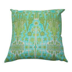 Turquoise + Aqua Pillow Cover - Turquoise + Aqua Batik, Danish Linen, 22x22