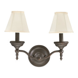 Quorum Lighting - Quorum Lighting Ashton Traditional Wall Sconce X-44-2-6345 - Classic candelabra lights complete with large scale bobeches are highlighted by your choice of finishes on this stylish two light Quorum Lighting wall sconce. From the Ashton Collection, the design is complimented by traditional tapered fabric shades that also feature classic boning to help pull the look together.
