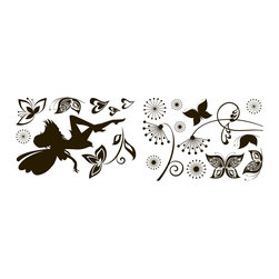 "Home Decor - Dark Fairy Wall Decals - Dark fairy decals are an enchanting wall decor design. A magical fairy jubilee, including butterfly stickers, flowers and hearts. Contains 20 pieces on a 13.75"" x 39.4"" sheet. Imported from Italy."
