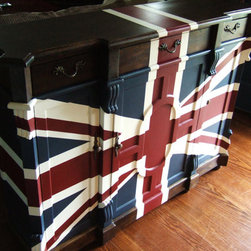 Old English Union Jack Butler's Buffet by Artisan 8 - This Union Jack butler's buffet makes a strong statement in any spot you place it.