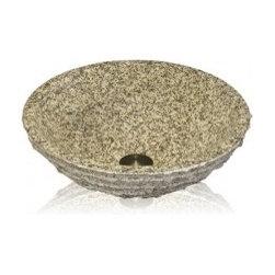 Lenova - Mediterranean Bathroom - Lenova SV-09-GRANITE Stone Vessel Round Bowl Above Counter Bath Sink