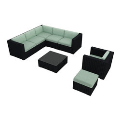 Harmonia Living - Urbana 8 Piece Modern Patio Sectional Set, Spa Cushions - Place this roomy eight-piece outdoor seating set by pool or patio and make your guest list. The sectional sofa, armchair, coffee table and ottoman offer endless entertaining possibilities. And each piece is crafted from materials meant to endure the elements, featuring all-weather resin wicker in a rich coffee brown. Cushion color choices include beige, turquoise, charcoal and dark red.