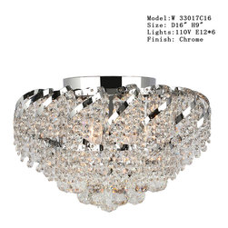 Worldwide Lighting - Empire 3 light Chrome Finish with Clear Crystal Ceiling Light - This stunning 3-light ceiling light only uses the best quality material and workmanship ensuring a beautiful heirloom quality piece. Featuring a radiant chrome finish and finely cut premium grade crystals with a lead content of 30%, this elegant ceiling light will give any room sparkle and glamour. Worldwide Lighting Corporation is a premier designer manufacturer and direct importer of fine quality chandeliers, surface mounts, and sconces for your home at a reasonable price. You will find unmatched quality and artistry in every luminaire we manufacture.