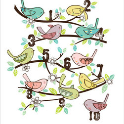 Luca & Company - Artwork - 123 Birds - The Ready Set Count Collection will encourage your child to count to ten. We love the fresh colors and images used in this series. Highly regarded graphic illustrator Rachel Riorden and mother of twins designed the collection. Her wonderfully crisp, unique and colorful artwork will add instant boost to any decor. These timeless pieces of Artwork for your child are offered in limited runs and created for your child to appreciate for years to come.  Artwork is printed on durable 16 x 20 canvas and is ready for hanging.