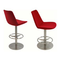 sohoConcept - Eiffel Swivel Stools - Eiffel Swivel stool is a unique stool with a comfortable upholstered seat and backrest on a swivel frame which is made of a steel tubular column and a solid steel round base. The stool is suitable for both residential and commercial use and can be ordered as counter or bar stool.