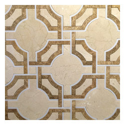 Stone & Co - Art Deco Water Jet Mosaic Crema Marfil Marble Cappuccino Marble and Thassos Mix - Art deco water jet mosaic crema marfil marble cappuccino marble and thassos white marble mix