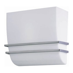 Lite Source - Lite Source LS-16910 Rhoswen Wall Sconce Lite - This wall sconce lite from the Lite Source Rhoswen Collection, with its polished steel body and white acrylic shade, will add style to any home. This is a close out item at close out pricing! Limited inventory! Hurry while supplies last!