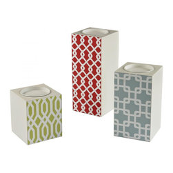 Joshua Marshal - Set Of 3 Chevron Print Candle Holders - Set Of 3 Chevron Print Candle Holders