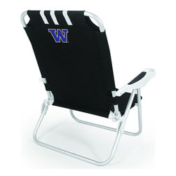 """Picnic Time - University of Washington Monaco Beach Chair Black - The Monaco Beach Chair is the lightweight, portable chair that provides comfortable seating on the go. It features a 34"""" reclining seat back with a 19.5"""" seat, and sits 11"""" off the ground. Made of durable polyester on an aluminum frame, the Monaco Beach Chair features six chair back positions and an integrated cup holder in the armrest. Convenient backpack straps free your hands so you can carry other items to your destination. Rest and relaxation come easy in the Monaco Beach Chair!; College Name: University of Washington; Mascot: Huskies; Decoration: Digital Print"""