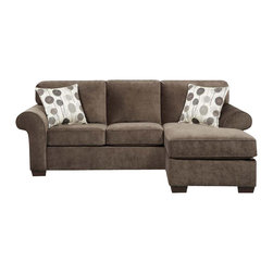Chelsea Home - 92 in. Worcester Queen Sleeper Sofa - Includes toss pillows and 4 in. inner spring mattress. Transitional style. Elizabeth ash cover. Seating comfort: Medium. Kiln-dried hardwood frame. Stress points are reinforced with blocks to secure long lasting frame. Attached back cushions. Sinuous springing system manufactured with reinforced 16-gauge border wire. Double springs are used on the ends nearest the arms to give balance in the seating. Hi-density foam cores with dacron polyester wrap cushions. Made from 100% polyester. Made in USA. No assembly required. 92 in. L x 67 in. W x 38 in. H (220 lbs.)