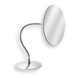 WS Bath Collections - Mirror Pure Mevedo Freestanding 7 in. Magnify - Makeup Magnifying Mirror. Flexible arm. Magnification 3 Times. Solid Brass Construction. Made by Lineabeta of Italy. Finish/Color: Polished Chrome. Dimensions: 7.1 in. Diameter