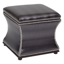 Storage Stool, Shimmer Metallic - This Accent Chair is polished with a metallic faux snakeskin fabric look that will pop in your space. Channel back and four tufts that are place conveniently on the back seat. Great for living, dining, or bedroom this chair fits just about anywhere.
