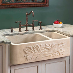 """33"""" Ivy 70/30 Offset Double-Bowl Polished Marble Farmhouse Sink - This marble farmhouse sink has one large bowl for washing pans and one shallow bowl for prep work. Its polished ivy design on the apron front adds style."""