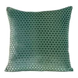 "Kevin O'Brien Studio - Dots Velvet Pillow - The simplicity of this polka dot pattern is a great compliment to its bold and colorful silk velvet ground. This fabric as a pillow or draped as a throw would add a glamorous 1920's feel to your home. Features: -Material: Velvet. -Zip closure. -Includes a feather / down insert. -Made in USA. Dimensions: -18"" H x 18"" W x 6"" D, 2 lbs."