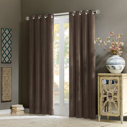 "Madison Park Signature - Madison Park Signature Alexandra Velvet Window Curtain - Add warmth and texture into your room with this 100% cotton velvet window panel. The soft and lush fabric in the deep rich taupe color adds a simple sophisticated touch. The heavy weight fabric combined with microfiber lining creates room darkening features for more privacy and energy saving abilities. Grommet top detail makes it easier to hang, open, and close panels throughout the day. Fits up to 1.25"" diameter rod. 100% cotton velvet wih micro fiber lining, Grommet Top."
