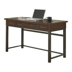Home Styles - Home Styles Cabin Creek Executive Desk in Chestnut Finish - Home Styles - Executive Desks - 541115 - Our Cabin Creek collection conveys a reclaimed wood vintage feel. Each piece is physically distressed by hand providing a unique one of a kind look. The Cabin Creek Executive Desk by Home Styles is constructed of poplar solids and mahogany veneers in a multi-step chestnut finish. Features include two storage drawers and a drop down lap drawer for keyboard use that are accessorized by replicated hand forged hardware and hammered metal look finished legs. Only assembly is attaching the legs. Work surface is approximately 1300 square inches.