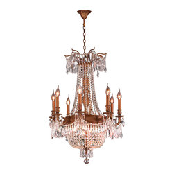 """Worldwide Lighting - Winchester 12 Lights French Gold Finish & Crystal Chandelier 24"""" D x 31"""" H Large - This stunning 12-light Chandelier only uses the best quality material and workmanship ensuring a beautiful heirloom quality piece. Featuring a cast aluminum base in French Gold finish and all over clear crystal embellishments made of finely cut premium grade 30% full lead crystal, this chandelier will give any room sparkle and glamour. Worldwide Lighting Corporation is a privately owned manufacturer of high quality crystal chandeliers, pendants, surface mounts, sconces and custom decorative lighting products for the residential, hospitality and commercial building markets. Our high quality crystals meet all standards of perfection, possessing lead oxide of 30% that is above industry standards and can be seen in prestigious homes, hotels, restaurants, casinos, and churches across the country. Our mission is to enhance your lighting needs with exceptional quality fixtures at a reasonable price."""
