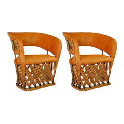 "Cancun Rustic Equipale Chairs - Traditional Mexican hand crafted top quality Equipal padded chair. (seat and back padded) Classic Mexico style with an American touch of comfort. Enjoy these chairs anywhere. Very comfortable padded chair. Great for indoors too! Chairs are sold in pairs Only. Price shown is per chair.  ""Extra Large Packaging fees may apply. Dimensions: 28'' l x 32'' h x 27'' w"