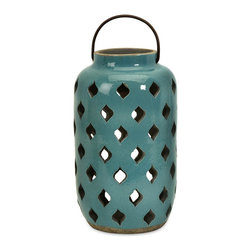 iMax - iMax Medium Pocono Lantern X-96081 - Spanish inspired medium teal glazed rustic ceramic Pocono lantern