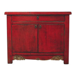 Madera Home - Layla Red Low Cabinet - Our collection of cabinets are built of beautiful elm wood reclaimed from buildings and furniture pieces that graced the eclectic Qing dynasty. Each piece is meticulously hand built and finished by time-honored craftsman utilizing over 120 different processes. They fit perfectly by the side of a sofa, next to the bed, or extra storage in any room.