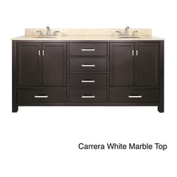 None - Avanity Modero 72-inch Double Vanity in Espresso Finish with Dual Sinks and Top - Color: EspressoType: ContemporaryMaterials: Solid wood and veneer,marble,vitreous china