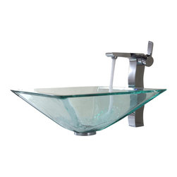 Kraus - Kraus Clear Aquamarine Glass Vessel Sink and Sonus Faucet Chrome - *Add a touch of elegance to your bathroom with a glass sink combo from Kraus