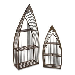 """IMAX - Nesting Boat Shelves - Set of 2 - Set of Two Matching Wrought Iron Nesting Boat Shelves with Cut Outs throughout and Neutral Finish  Item Dimensions: (23.5-33""""h x 10.5-13.25""""w x 4-6.25"""")"""