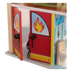 KidKraft - Fire Station Set by Kidkraft - Young boys and girls will love pretending they are real-life heroes with our adorable Fire Station. This play set is full of fun details like the helipad on the roof and garage doors that open and close. There�s nothing as exciting as saving the day, so make sure you pick this set up for all the young adventurers in your life.