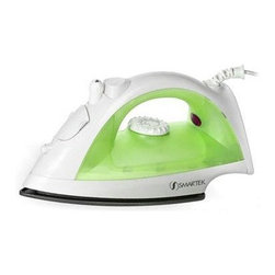 Smartek USA - Smartek Steam Iron Green - ST-1200 Smartek Steam Iron with green finish. Steam or dry ironing.  Variable steam control.  Adjustable heat setting.  Burst of steam.  Water spray mist.  Self clean w/ anti clogging valve.  Non-stick soleplate.  Heat indicator light.  Transparent water tank.  Built-in water cover.  1200 watts.  Swivel cord.
