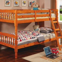 Coaster - Corinth Twin Over Twin Bunk Bed - Rich wood construction and soft pine finish combine to create a traditional bunk bed style unit.  Easily separates for two separate sleeping spaces, but stacks to perfection to maximize small bedroom spaces.  Handy ladder offers top bunk access, while richly detailed posts offer the latest in traditional bedroom style.  These beautiful bunk beds are just what your children need!  The pine finish will bring a warm touch to the bedroom that any parent will love. * Mattresses not included. Twin over twin bunk bed. Made from durable wood. Medium pine finish. Converts into two beds. Built-in ladder. Requires two 9 in. thick twin mattresses. Casual style. Smooth clean edges and turned detail on legs. Built-in guard rails. 80.25 in. L x 42.75 in. W x 61.38 in. H. Warranty. Bunk Bed Warning. Please read before purchase.. NOTE: ivgStores DOES NOT offer assembly on loft beds or bunk bedsWith charming casual style, this twin bunk bed is a perfect space saving solution for your child's bedroom.