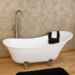 """62"""" Linus Acrylic Slipper Footed Tub - The Linus Acrylic Slipper Tub features a freestanding design with a gently curved shape. Contemporary lines and contoured feet allow this tub to fit seamlessly in a modern bathroom."""