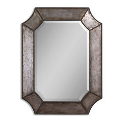"""Hammered Aluminum Beveled Mirror - *Frame is made of distressed, hammered aluminum with burnished details and rust brown trim. Mirror has a generous 1 1/4"""" bevel."""